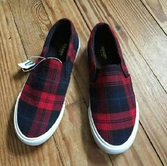 Red an Navy Plaid Slip On Sneaker Classic plaid and classic style! Easy to wear, slip on shoe with elastic side vents on top. Red and navy plaid with green stripes. Fits closer to a 9 1/2. Shoes Sneakers