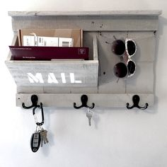 Rustic Entryway Organizer - Mail / Key / Sunglasses holder made from reclaimed pallet wood - Mail Organizer - Key Holder