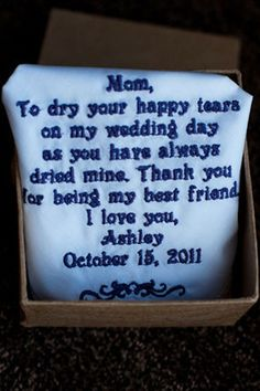 Cute Mother of the Bride gift & could be given to any member of family you're close to just edited a bit!