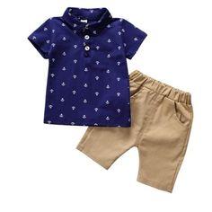 41d4c1a5e93 Short-sleeved Lapel T-shirt Pants Carters Baby Boys