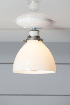 Milk Glass Shade Light - Ceiling Mount lamp - Semi Flush Mount - Industrial Light Electric - 1