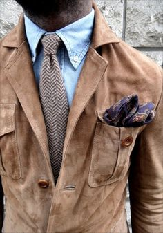 All the outerwear materials all at once! Lol. / Suede jacket, herringbone tie and denim shirt.