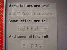 Alphabet poster to help remind the children how each letter looks and its placement on the paper!