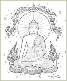: Fun Learning traditional Thai Designs with JitdraThanee the Tutor Buddha Painting, Buddha Art, Adventure Tattoo, Thai Pattern, Thailand Art, Coloring Pages, Coloring Books, Thai Art, Hindu Art
