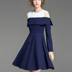 LONG SLEEVE SEXY BLUE OFF-SHOULDER DRESS Old: $84.61 Now: $51.76