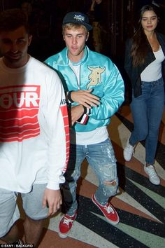Trendy: The Sorry singer teamed it with a white tee and a pair of light wash ripped blue s...