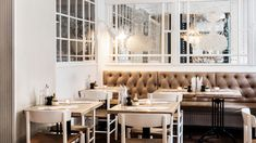 "Tufted leather wall seating - Restaurant ""The Italien"" by Cofoco, Denmark"