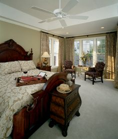 Master Bedroom of The Indigo House Plan 727. The master suite features a tray ceiling, #sitting alcove, and private bath with dual walk-in #closets, garden tub, and separate shower. http://www.dongardner.com/images.aspx?pid=539&fn=interiors\727master.jpg #floorplan