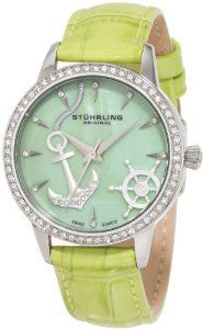 Stuhrling Original Women's 520.1115L88 Vogue Audrey Verona Del Mar Swiss Quartz Mother-Of-Pearl Swarovski Crystal Green Watch: Watches: Amazon.com