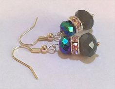 Beaded Earrings with Sparkling Rhinestones Grey Glass