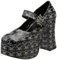 Demonia by Pleaser Women's Charade-17 Platform Pump,Black Polyurethane,9 M US. Mod Mary Jane pump in allover stitched skull pattern featuring chunky platform and heel. Mary Jane strap with antiqued skull and bones buckle. Round toe.