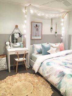 Desk IKEA / brackets IKEA / sheer curtain material Spotlight / fairy lights IKEA / chair Adairs kids / bedding Adsirs / rug Spotlght/ mirror Kmart