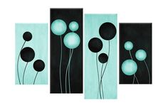 """LARGE ABSTRACT CANVAS PICTURE DUCK EGG BLUE BLACK ABSTRACT CIRCLES  40"""" rdy2hang in Art, Canvas/Giclee Prints 
