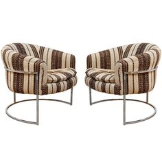 Milo Baughman Chrome Thin Frame Barrel Chairs   From a unique collection of antique and modern lounge chairs at https://www.1stdibs.com/furniture/seating/lounge-chairs/