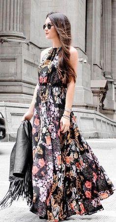 Lulu's Black Floral Maxi Dress  | Sarah Styles Seattle