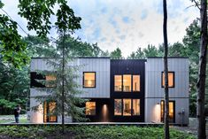 Brooklyn studio AlexAllen has entirely revamped a family home in New York State, trading its outdated plywood siding for a modern finish composed of cement panels and blackened timber. Plywood Siding, Halls, New Paltz, Architect Magazine, New York Homes, American Houses, Architect House, Facade Design, Exterior Design