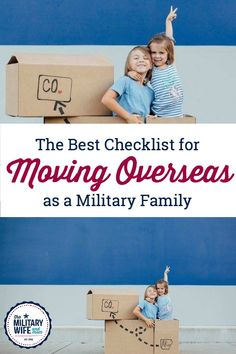 This is the BEST moving overseas checklist for military families that I've found. If you're planning an OCONUS move, grab this overseas moving checklist. Moving List, Moving To Italy, Moving Checklist, Military Homecoming, Military Deployment, Military Girlfriend, Military Spouse, Oconus Pcs, Military Relationships