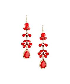 Take a look at the Gold & Red Flower Petal & Teardrop Earrings on #zulily today!