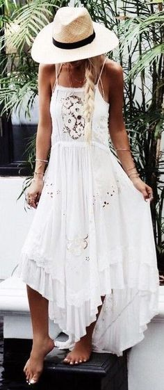 White Boho Maxi Dress                                                                             Source #BohoFashion
