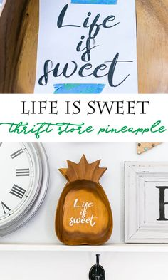 Life is Sweet Pineapple using a thrift store wood pineapple - makes a cute sign! Succulent Display, Hanging Succulents, Farmhouse Vases, Kitchen Chalkboard, Cute Pineapple, Thing 1, Metal Vase, White Acrylic Paint, Cute Signs