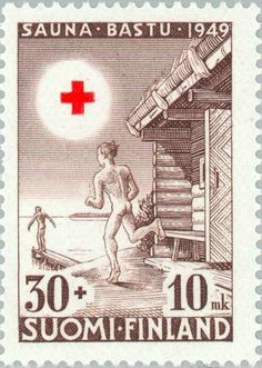 Diving into the Lake After the Sauna (פינלנד) (Red Cross) Mi:FI 371 Cross Pictures, Vintage Stamps, Vintage Travel Posters, Red Cross, Stamp Collecting, Designs To Draw, Nostalgia, Illustration Art, Saunas