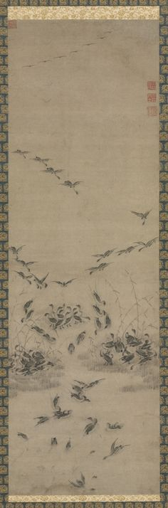 Cleveland Museum of Art Geese Returning Home, 1600s Korea, Joseon dynasty (1392-1910) hanging scroll; ink on paper, Overall - h:182.90 w:49.60 cm (h:72 w:19 1/2 inches) Painting only - h:102.50 w:32.50 cm (h:40 5/16 w:12 3/4 inches). Mr. and Mrs. William H. Marlatt Fund 1993.159