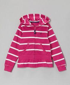 Look what I found on #zulily! Bright Pink Stripe Zip-Up Hoodie - Girls #zulilyfinds