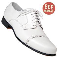 Aris Allen Men's EEE Extra-Wide 1930s White Captoe Dance Shoe