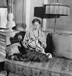 First Lady Eleanor Roosevelt knitting in the Memory Room, 1932