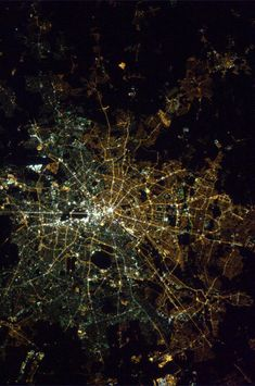 East Berlin and West Berlin use different types of street lights, visible from space