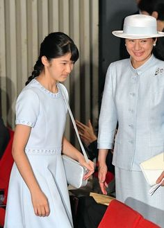 Crown Princess Masako and daughter Princess Aiko of Japan attend a symposium on…