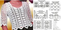 Crochet lace top with elbow length sleeves ~~ Nilza Souza