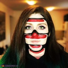 Sliced Up - 2018 Halloween Costume Contest Halloween Costume Contest, Halloween Diy, Costume Ideas, Halloween Face Makeup, White Makeup, Eyeshadow Ideas, Costume Works, Creative Costumes, Sfx Makeup