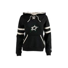 Women's Dallas Stars Old Time Hockey Black Grant Lace-Up Slim Fit... ❤ liked on Polyvore featuring tops, hoodies, dallas stars, hockey, lace up front top, old time hockey hoodies, lace up hooded sweatshirt, slim hoodie and lace up top