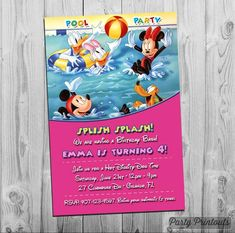 Bring Your Swimsuit Invitation Lovely Mickey Mouse Pool Party Invitation Printable Birthday Invite Pool Party Birthday Invitations, Printable Birthday Invitations, Printable Party, Invitation Examples, Printable Invitation Templates, Mickey Mouse, Mickey Birthday, 2nd Birthday, Birthday Ideas