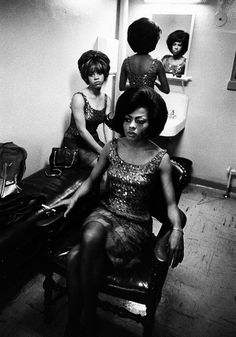The Supremes backstage during a show, photographed by Art Shay, 1961.