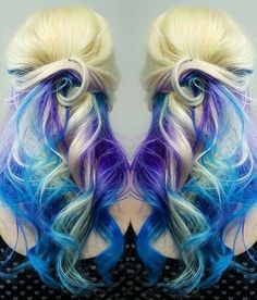 Blonde purple blue dyed hair color /shearcraft/
