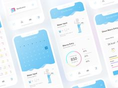 Daily Water Reminder by Jajang Irawan on Dribbble Ui Design Mobile, App Ui Design, Water Reminder App, Macros, Don Du Sang, App Map, Minimal Graphic Design, Medical Design, Application Design