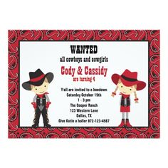 Cowboy and Cowgirl Birthday Invitations Cards