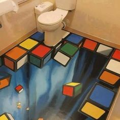 I think this is a really cool design because I love floor art and optical illusions, so it is really visually appealing to me! 3d Street Art, Street Artists, 3d Flooring, Bathroom Flooring, Bathroom Art, Funny Bathroom, Flooring Ideas, Bathroom Designs, Modern Flooring