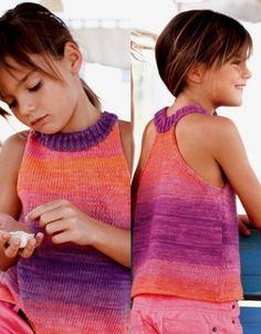 Sommertop til piger 4-12 år strikkeopskrift i Katia Degradé Sun