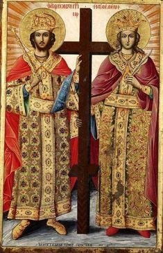 Helena and her son Constantine, the first Byzantine Emperor. Sf Constantin, Best Icons, Byzantine Icons, Orthodox Christianity, Catholic Saints, Holy Family, Orthodox Icons, Medieval, Religion