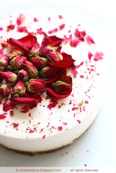 Chubby Baker Diary: Rose Tea Cheesecake (Served with rose-infused water and lemons - mmmm)