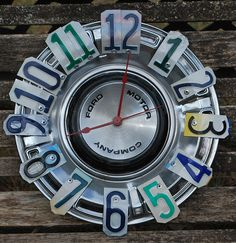 Ford Hubcap Clock License Plate ClockMan CaveGarage by dables