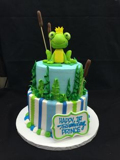 Frog prince cake for a first birthday.  Fondant frog.  Cake by Stephanie Dillon, LS1 Hy-Vee