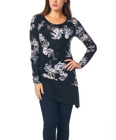 This Black Rose Asymmetrical Tunic by A La Tzarina is perfect! #zulilyfinds
