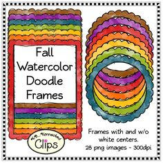 Bright Fall Watercolor Doodle Frames $ http://www.teacherspayteachers.com/Product/Fall-Page-Dividers-Clip-Art-1368279