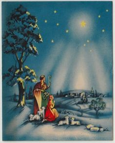 Vintage Christmas Card | Christmas Nativity | Pinterest | Vintage ...