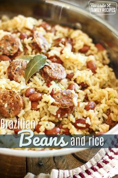 Brazilian Rice and Beans with Sausage is a simple to make recipe that is bursting with savory flavor! A one dish meal ready in less than 30 minutes! #brazilian #beansandrice #beans #rice #sausage #maindish #FavoriteFamilyRecipes #favfamilyrecipes #FavoriteRecipes #FamilyRecipes #recipes #recipe #food #cooking #HomeMade #RecipeIdeas