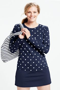 61a42877777 Women s Polka Dot Crewneck Swim Tee Rash Guard. Plus Size ...